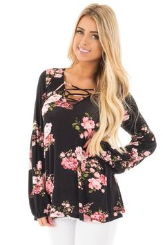 Lime Lush Boutique - Black Blush Floral Criss Cross Top with Poof Sleeve Detail, $36.99 (https://www.limelush.com/black-blush-floral-criss-cross-top-with-poof-sleeve-detail/)