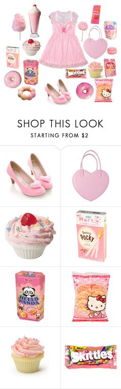 """❤️I only eat pink things❤️"" by sweetpasteldream ❤ liked on Polyvore featuring Cotton Candy, Panda, Hello Kitty and River Island"