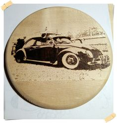 Volkswagen Beetle pyrography photo for wall by WoodBurningStudio