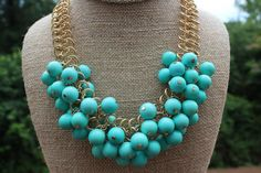 Peach Roots - Chunky Teal Bead Necklace, $20.00 (http://peachroots.com/chunky-teal-bead-necklace/)