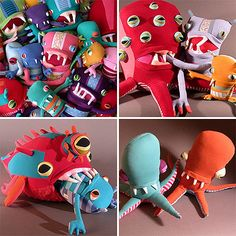 Crazy creatures made of recycled fabric by Jennifer Strunge