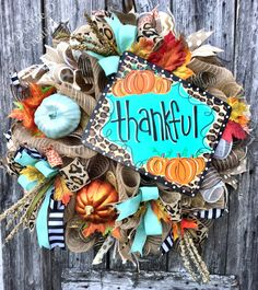 Thankful Wreath, Fall Wreath, Fall Decor, Thanksgiving Wreath, Thanksgiving Decor, Fall Door, Fall Deco Mesh Wreath, Autumn Wreath by ADoubleDCreation on Etsy