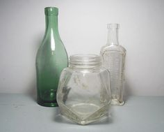 Antique Glass Bottles and Jars/Green Glass by SukiandPolly on Etsy