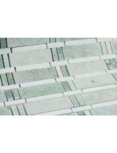 Skyline Series Ming Green Polished Thassos White Marble Mosaic Tile. #Ming_green #Marble_Mosaic #Mosaic_Tile