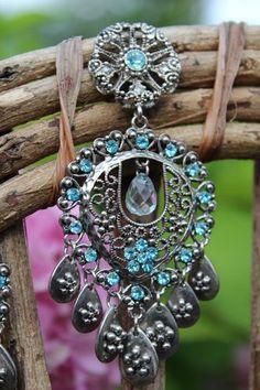 Boho Silver Filigree Blue Rhinestone Flower Fringe Dangle Earrings