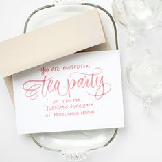 FREEBIE: Printable Tea Party Invitations! #calligraphy #handlettering #freebie #printable