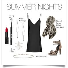 Summer Nights by stelladot on Polyvore featuring Schutz, Stella & Dot, NARS Cosmetics, Stila and Maybelline