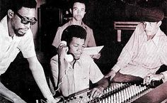 AUGUSTUS PABLO at Randy's with mix engineer ERROL THOMPSON and producer CLIVE CHIN, '74...