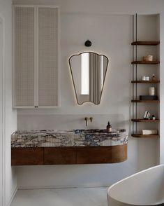 Bathroom Inspo, Bathroom Inspiration, Modern Bathroom, Bathroom Small, Bathroom Ideas, Marble Wood, Minimalist Kitchen, Bathroom Shelves, Bathroom Storage