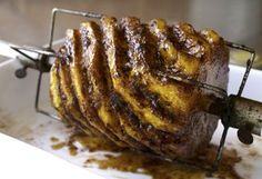 ~ Spit-Roasted Pineapple a la Steven Raichlen ~ - Kitchen Encounters Entree Recipes, Grilling Recipes, Pineapple Dessert Recipes, Fruit Recipes, Steven Raichlen, Roasted Pineapple, Rotisserie Grill, Spiced Pecans, Smoking Recipes