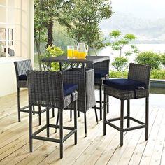 Summon 5 Piece Outdoor Patio Sunbrella® Pub Set in Canvas Navy  - Lifestyle