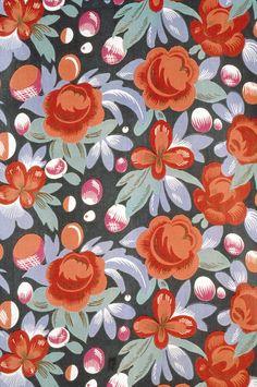 """Textile """"Juin"""", cotton, printed, Paul Poiret designer, French, 1929-1930"""