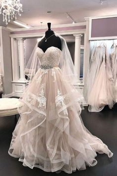 Light champagne tulle lace long prom dress, lace wedding dress, customized service and Rush order are available Western Wedding Dresses, Custom Wedding Dress, Luxury Wedding Dress, Dream Wedding Dresses, Lace Wedding, Tiered Wedding Dresses, Wedding Gowns, Floral Wedding, Cocktail Bridesmaid Dresses