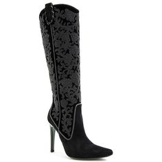 Donald J Pliner Women's Viena- Black (9) (12.508.680 IDR) ❤ liked on Polyvore featuring shoes, boots, baroque embroidered boot, black, mid-calf boots, suede, sexy boots, black pointy toe boots, donald j pliner boots and black mid calf boots
