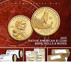 2013 Native American $1 Coin Bags, Rolls and Boxes United States Mint, Gold And Silver Coins, In God We Trust, Coin Bag, Coin Collecting, Nativity, Native American, Maps, Rolls