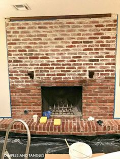 How to Mortar Wash a Brick Fireplace Brick Fireplace Makeover Mortar Wash Tutorial Dimples and Tangles White Wash Brick Fireplace, Red Brick Fireplaces, Fireplace Update, Paint Fireplace, Brick Fireplace Makeover, Farmhouse Fireplace, Home Fireplace, White Wash Brick Exterior, Fireplace Mortar