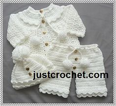 You are welcome to sell or give to charity, craft fairs etc anything that you make from my designs, please use your own pictures. (a mention that it is a justcrochet pattern is always appreciated) Crochet Baby Sweaters, Crochet Baby Cardigan, Crochet Baby Clothes, Baby Knitting, Crochet Bebe, Baby Girl Crochet, Crochet For Kids, Baby Set, Baby Patterns