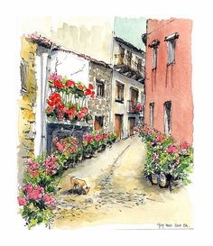 croquis aquarellé: ruelle de Trancoso - Portugal by guymoll, via Flickr