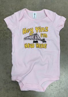 Pittsburgh Baby Pink Yinz Im New Here Short Sleeve One Piece - 22784681 Pittsburgh Penguins, Pittsburgh Steelers, Pitt Panthers, One Piece, Rompers, News, Sleeve, Pink, Baby