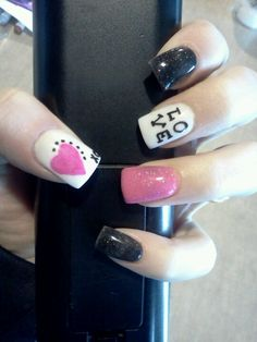 My valentine nails with dottie