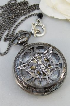 Acacia,Watch,Pocket Watch,Key,Silver Necklace,Watch Necklace,Watch,Time,Steampunk,Steampunk Jewelry, Handmade jewelery Valley girl designs. on Etsy, $30.00