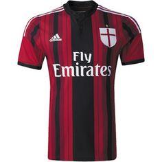 Mit Sponsor Neues AC Milan Rot Und Schwarz Adidas Home Fussball Trikot 2014 2015 Billig Großhandel Online