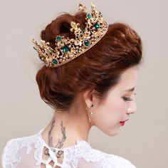 3 Colors Sparkling Baroque Gold Big Wedding Pageant Tiaras Hairband Crystal Bridal  Crowns For Brides Hair Jewelry Headpiece Gift 48462f5a434e