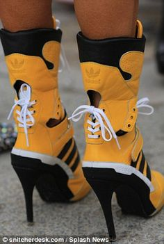 Would YOU wear them? Clearly giving the sports luxe trend an update, fashionistas in Paris...