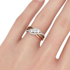 Interwoven Three Stone Round Cut Sterling Silver Ring