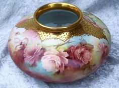 "Exquisite Bavaria Hand Painted ""Peach & Yellow Roses"" 8"" Floral from labazaar on Ruby Lane"