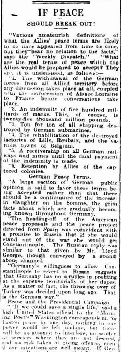 """WWI, 5 Dec 1916; """"What are the real terms of peace which the Allies would be prepared to accept?' - Daily Herald, Adelaide"""