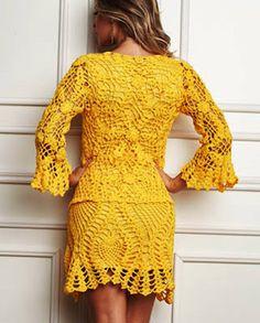 Vestido em Crochê com Gráficos e Receita da Círculo - Katia Ribeiro Moda e Decoração Handmade
