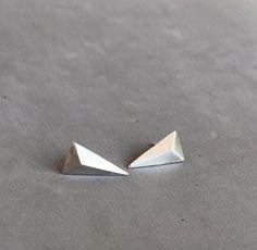 Triangle Earrings, Geometric Earrings Stud, Geometric Jewelry, Minimalist Silver Stud Earrings, Modern Stud Earrings, 3d Earrings, Hipster