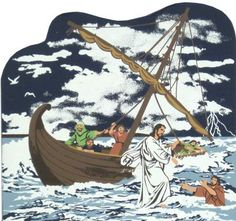 Jesus Walks On Water - Matthew 14:23-33   The Cat's Meow Village / Bible Story included on the back