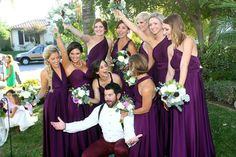 Bridesmaids in Infinity Dresses. All wrapped differently for different looks that compliment each different girls figure Bridesmaids, Bridesmaid Dresses, Infinity Dress, Dress First, Wardrobe Staples, Bridal Dresses, Compliments, Purple, Girls