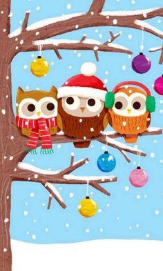 Cute owl on a limb Christmas Owls, Christmas Time, Vintage Christmas, Christmas Crafts, Christmas Ornaments, Merry Christmas, Bastelarbeit Winter, Owl Wallpaper, Iphone Wallpaper