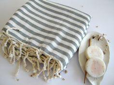 Turkish Towel, Natural Peshtemal, Best Men's Gift, Women beach towel, hammam, picnic, Spa Yoga Towel, Trendy Gift, Gray Striped, christmas by TheAnatolian on Etsy https://www.etsy.com/listing/127107069/turkish-towel-natural-peshtemal-best