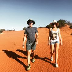 Simon and Sylvia from Italy enjoying a nice stroll through the red sand country in Francois Peron National Park