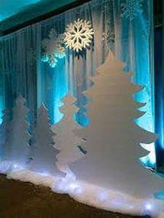 Winter Wonderland Christmas Party, Winter Wonderland Decorations, Winter Party Decorations, Office Christmas Decorations, Winter Wonderland Theme, Diy Dance Decorations, Desk Decorations, Frozen Party Decorations, Holiday Decor