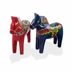 Traditional Swedish Wooden Dala Horse - Red or Blue