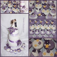 Purple and White wedding cupcakes! - Cake by Karen Dodenbier
