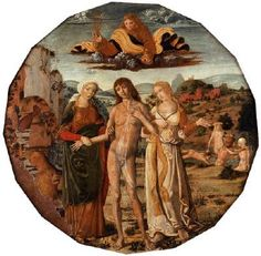 GIROLAMO DI BENVENUTO (b. 1470, Siena, d. 1524, Siena)   Click! Hercules at the Crossroad  - Panel, diameter 57 cm Galleria Franchetti, Ca' d'Oro, Venice  The picture shows the front of a birth tray. (A tray was given on the occasion of weddings or birth.) On the back of the tray appear the coats-of-arms of the families united in wedlock.