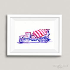 Cement Truck Watercolor Art  Playroom Art  by Blue Jay Bay. This is a custom painting that can be done in a number of different color schemes. A fun choice for girls who like trucks, boys who are into construction trucks, and adults who love cool trucks.