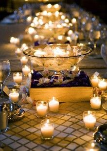 #Candle-lit #wedding reception table