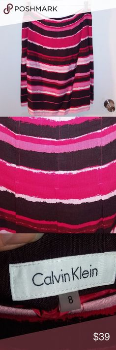 NWT Pink Pleated Skirt Sz 8 Pink Striped pleated skirt from Calvin Klein Calvin Klein Skirts A-Line or Full