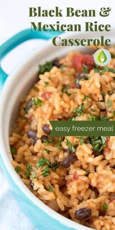 Perfect for stashing in the freezer, this rice casserole is packed with fresh Mexican flavours and healthy vegetarian protein. Make ahead, freeze some for later, or feed a crowd.  You will love this Mexican rice dish.