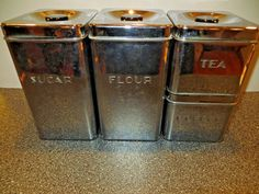 Vintage 4 Pc Chrome Kreamer Ware Canister Set - Flour Sugar Tea Coffee