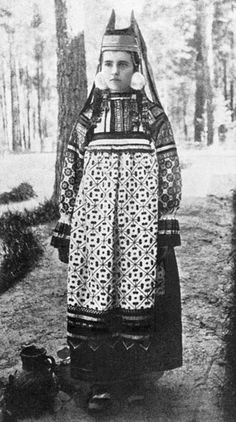 "(Ryazan Area, Russia 1900, soroka with horned ""kichka"" ( кичка)) Bride."