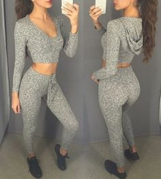 2016 Grey Leggings and Hooded Crop Top 2 Pieces Set (Size: L, Color: Grey)