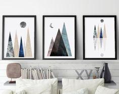 Set of 3 Prints Print Set 3 Mountains Blush by UrbanEpiphanyPrints